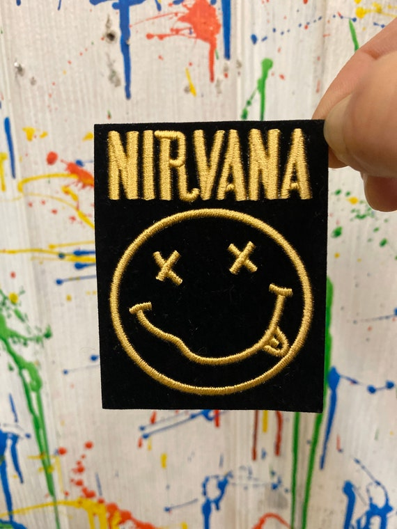 Nirvana smile face black gold iron on patch