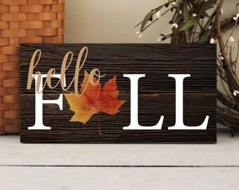 Hello Fall Sign, Autumn Wall Decor, Fall Wall Sign, Fall Home Decor