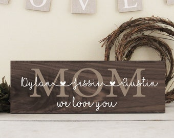 Mothers Day Gift Rustic Wood Mom Sign Family Wall Idea From Kids