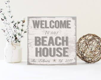 adfe9ac8ae0a Personalized Large Family Name Beach House Sign