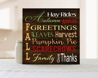 Fall Word Art Sign, Autumn Wall Decor, Fall Sign, Words of Fall, Words of Autumn