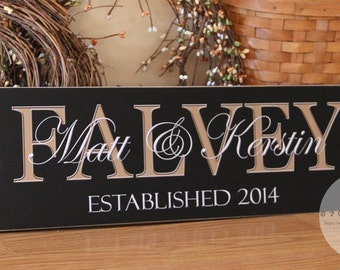Custom Family Name Sign, Personalized Last Name Sign, Wedding Gift, Housewarming Gift, Family Name Wall Decor