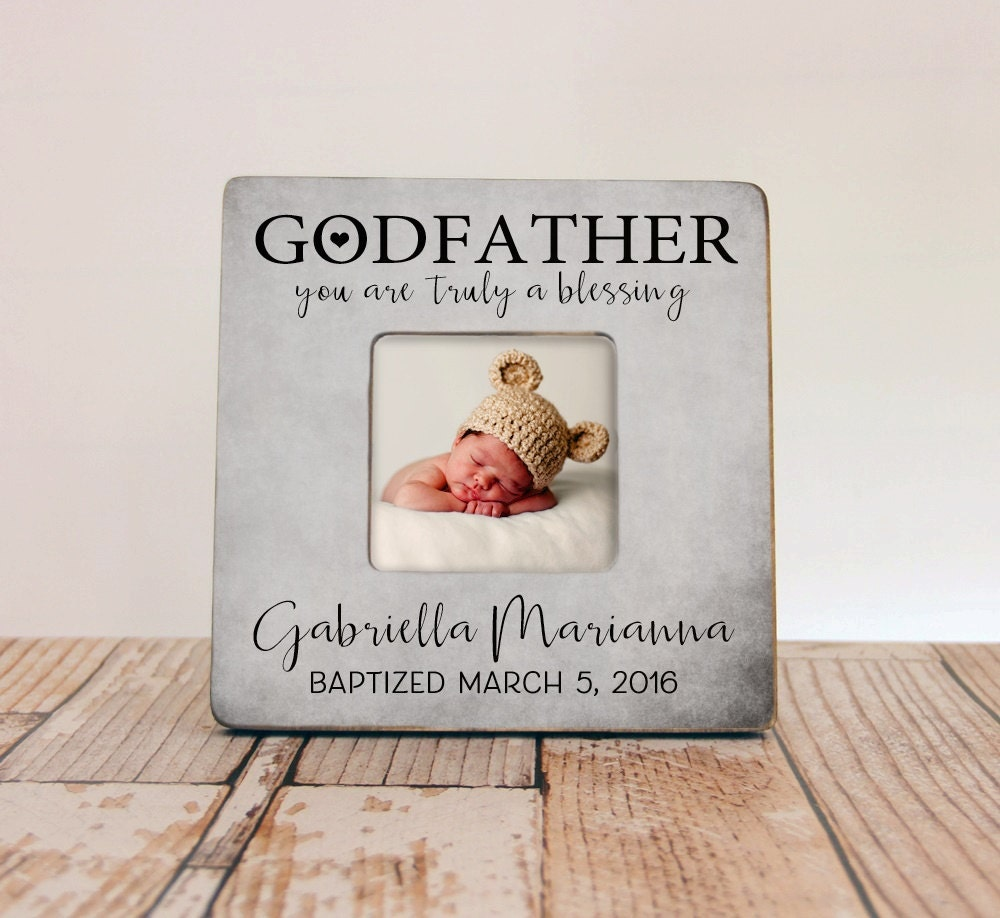 godfather gift personalized baptism picture frame godparent | etsy