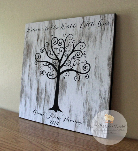 Baby Shower Fingerprint Tree Sign Guest Book Alternative Etsy