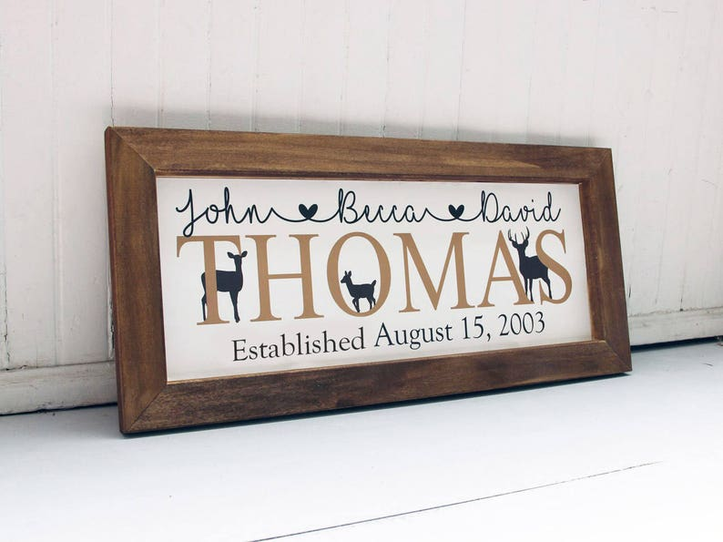 Rustic Farmhouse Decor Wood Framed Family Sign Family Name Sign Nature Themed Decor Deer Family Name Sign