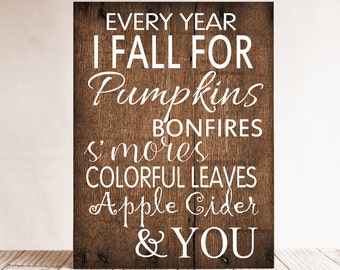 Every Year I Fall For Sign, Autumn Wall Decor, Fall Sign, Fall Decor