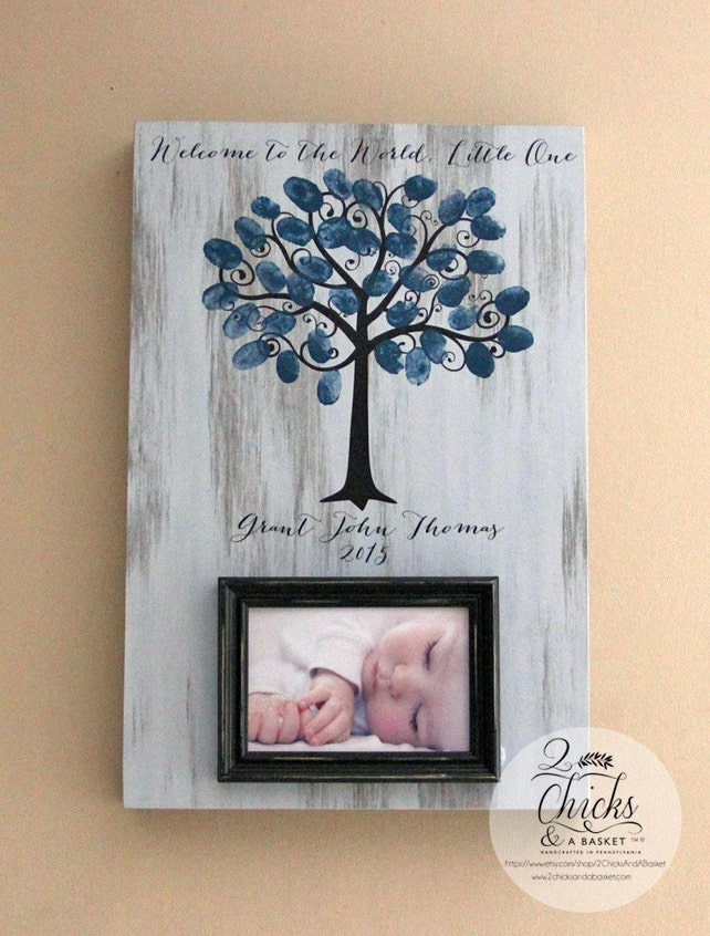 Welcome To The World Little One Baby Shower Fingerprint Tree Etsy