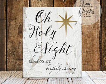 Oh Holy Night Sign, Christmas Wall Decor, Christmas Wall Sign, Handcrafted Christmas Sign
