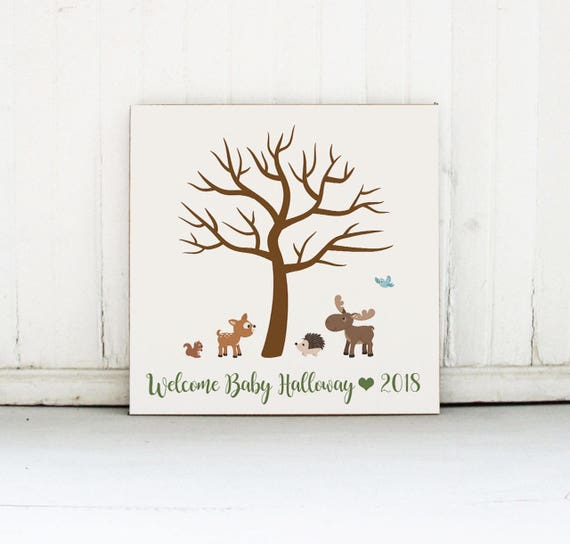 Baby Shower Fingerprint Tree Sign Welcome Baby Personalized Etsy