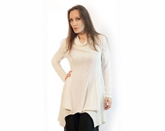 Blouse,white blouse,off white blouse,long sleeves,knit,Tunic/Top, Original,Size Plus,fall trend,original blouse, white tyunic Item Т-18