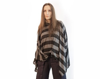 Blouse,tunic,striped blouse,striped tunic,black gray tunic,knitted tunic,long sleeves,knit,Tunic/Top,Original, Size Plus Item T-16