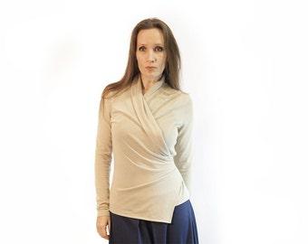 blouse,beige blouse,asymmetric blouse,knitted blouse,long sleeves,original blouse,soft blouse,autumn blouse,suit,beige top Model B 76