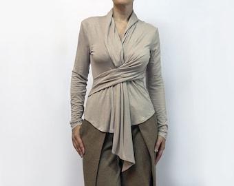 blouse,beige blouse,knitted blouse,cravat,long sleeves,original blouse,fall trend,suit,soft blouse,autumn blouse,beige top Model B 45