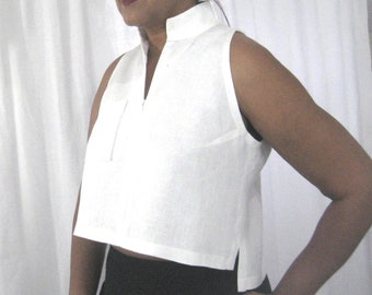Linen Cutaway Armhole Top, Waist Length, Zip Front Closure With Banded Collar, Open Back With Uneven Hemline, Modernk