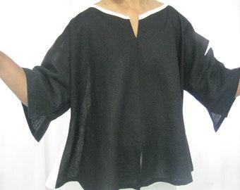 Black And White Linen Swing Top,  Bow, Geometric Details, Slits, Bateau Neckline, Medium Length, Three-Quarter Sleeves, Cool, Cruise, Summer
