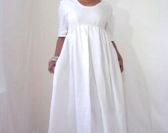 White Linen Dress, Uneven Hemline, Short Sleeves, Geometric Details, Pockets, Long, Summer Event, Scoop Neckline, Maternity Dress, Wedding