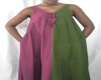 Handkerchief Linen Maxi Two Tone Swing Dress, Magenta And Avocado, Pockets, Slits At Neck And Hemline, Ruffle DetailSLEEVELESS