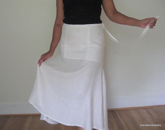 38b0f9b28259 White Linen Skirt Yoke Detail Unen Hemline Tie Waist Long | Etsy