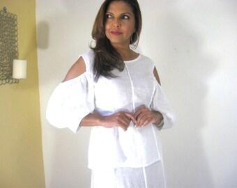 White Dress, White Linen Dress, Two Piece, All White Event, Puff Sleeve, Gored Skirt,  Summer, Lightweight, Open Back, Party, Resort, Cool