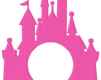 Castle // Circle // Frame Only // Monogram Machine Embroidery Design // Add your Own Letters // Joyful Stitches