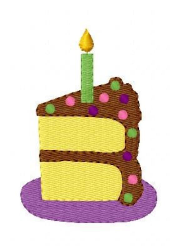 Embroidery Design Birthday Cake Slice Joyful Stitches Etsy
