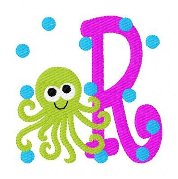 Octopus // Summer // Machine Embroidery Monogram Font Design Set,  Embroidery font, Embroidery Monogram Font // Joyful Stitches