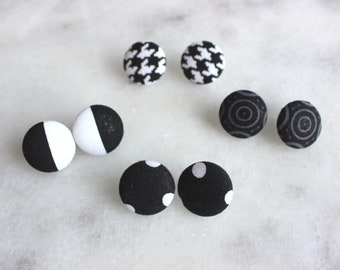Cute as a Button Earrings - Sometimes I Dream in Black and White