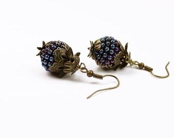 Vintage Inspired Blackberry Earrings, Purple Berry & Brass - Steampunk -