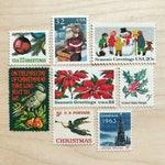 Christmas Grab Bag .Unused Vintage  Stamps . Enough to Mail 5 Envelopes under 1 oz.