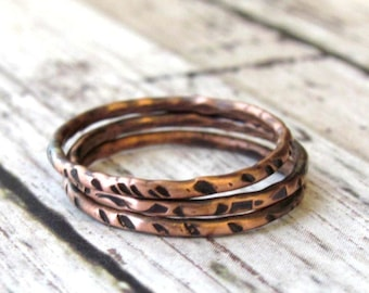 e3ea72d5ebab16 Thin Copper Stacking Ring Set of 3 - Hammered 16 Gauge Wire Rings - Rustic  Handmade Boho Jewelry - Gift For Her