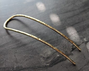 Brass Hair Fork - Hammered Gold Toned Handmade Wire Hair Pin - Updo Bun - Simple Minimal U Pin - Gift For Her