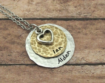 Hand Stamped Necklace Personalized Rustic Jewelry Hand Stamped Jewelry Custom Jewelry Mom Necklace Personalized Jewelry Handstamped Necklace