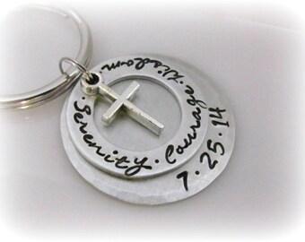 Sobriety Keychain Serenity Courage Wisdom Recovery Date Sobriety Anniversary Sobriety Gift Sobriety Key Chain Addiction Recovery Key Ring