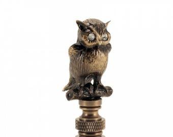 LAMP FINIAL  Night  Owl antiqued metal