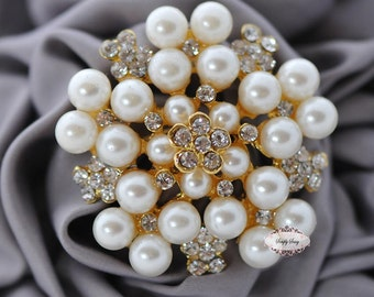 Rhinestone Brooch Embellishment Crystal Pearl Silver Wedding Brooch Bouquet Cake Decoration Hair Comb Shoe Clip RD73