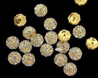 20 Rhinestone Flatback Buttons - Rhinestone Decorative Elements - DIY Supply - Invitations - Wedding - Accessories - Jewelry RD100