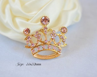 Pink Gold Rhinestone Tiara Crown Flatback Button Embellishment Crystal Tiara Pageant Also Available as a Connector