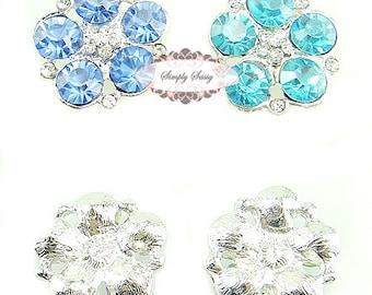 5pcs RD260 Sky Blue Rhinestone Metal Flatback Embellishment Button DIY wedding bridal crystal bouquet flowers hair