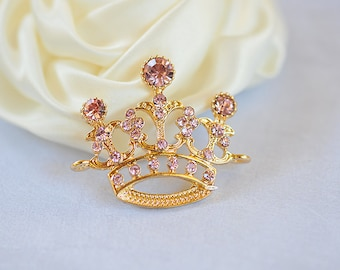 Pink Gold Rhinestone Tiara Crown Embellishment Connector Crystal Tiara Pageant Also Available Without loops