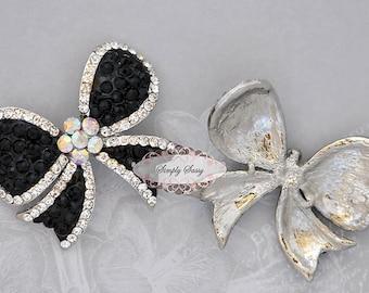 Rhinestone Brooch Component - Flatback Rhinestone Pin - Rhinestone Bow - Embellishment - Wedding  - Bridal Bouquet - Jewelry RD194