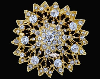 Gold Rhinestone Brooch Embellishment - Flatback - Brooch Bouquet - Supply - Broach - RD228