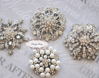 4 Rhinestone Brooch Pin Jewelry Components Rhinestone Embellishments - Rhinestone Jewelry - DIY Wedding - DIY Brooch Bouquet Supplies