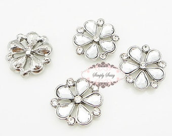 10 pcs Rhinestone Embellishment Flatback Crystal Metal Buttons Wedding Bridal bouquets invitations favors hair  RD213 17mm