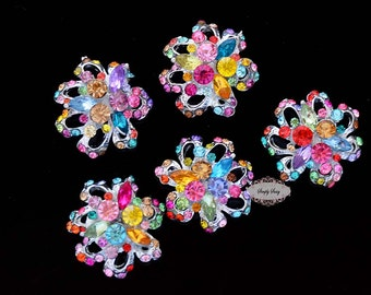 5pcs Multi Color Metal Flatback Embellishment Buttons Brooches Bridal Wedding invitations bouquets hair clips bows RD82