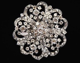 Rhinestone Brooch Component Crystal Flower SilverEmbellishment Wedding Brooch Bouquet Cake Hair Comb Shoe Clip Supply RD247