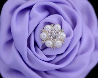10 Rhinestone Pearl Flat back Buttons - Pearl Embellishments - Flatback RD80