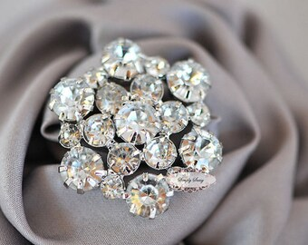 5 pcs RD138a Rhinestone Metal Flatback Embellishment Button Brooch Bridal Wedding accessories invitations crystal bouquet flowers hair clip