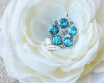 5pcs RD260 Teal Sky Turquois Blue Rhinestone Metal Flatback Embellishment Button DIY wedding bridal crystal bouquet flowers hair