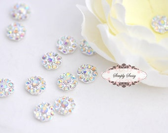 20 pcs RD100 Clear AB Rhinestone Embellishment Flatback Crystal  DIY invitations flowers weddings bouquet brooch bling