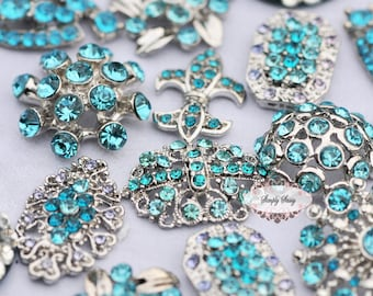 10pc Turquoise Blue Teal  Aqua Assorted Rhinestone Flat back Embellishments Buttons Crystal Buttons Wedding Bouquet Favors Invitations Bling